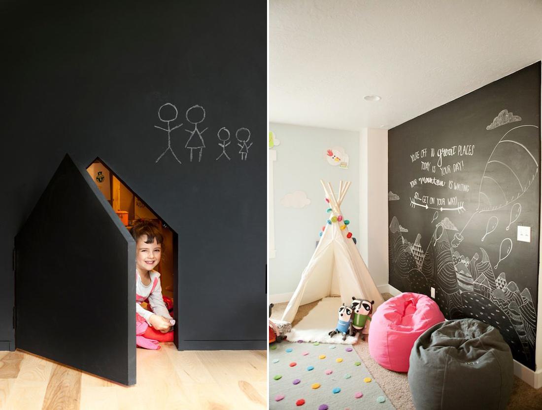 קיר לוח גיר בחדר הילדים