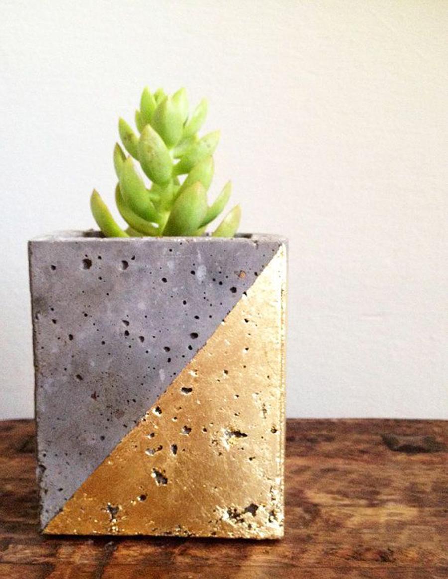 Mod concrete planter geometric gold leaf by veryfinesouth on Etsy