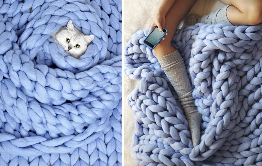 שמיכה סרוגה - פריטים מעוצבים לחורף מפנק studio in2